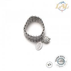 Anello argento rodiato con strass + Miracolosa