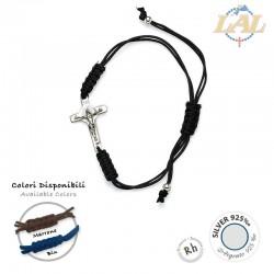 Bracciale corda S.Benedetto argento + sacchetto organza + biglietto