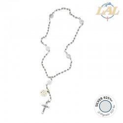 Rosario in argento tondo con legatura in argento - S.Benedetto