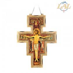 Croce S.Damiano in legno con immagine a rilievo
