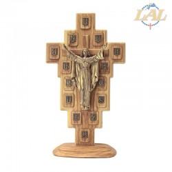 V.Crucis ulivo+redentore resina bronzato+base