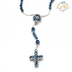 Rosario in cristallo Swarovski e argento rodiato+croce e crocera