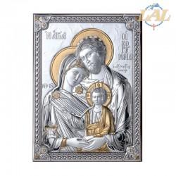 Icona in legno e lastra d'argento S.Famiglia