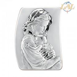 Quadro in argento Madonna con bambino retro in legno