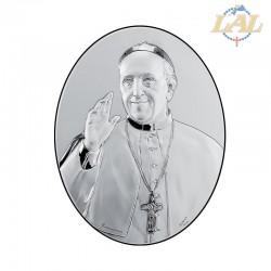 Quadro legno e argento ovale Papa Francesco