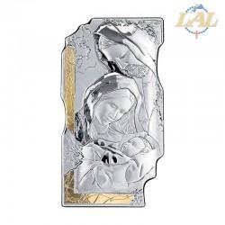 Pannello legno con affresco in argento Sacra Famiglia con riporto in oro